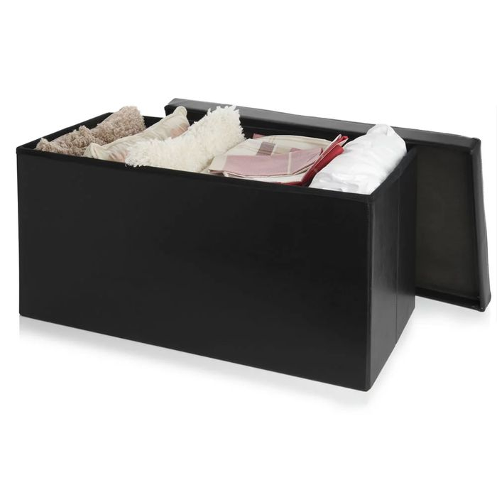Wilko Black Faux Leather Storage Ottoman