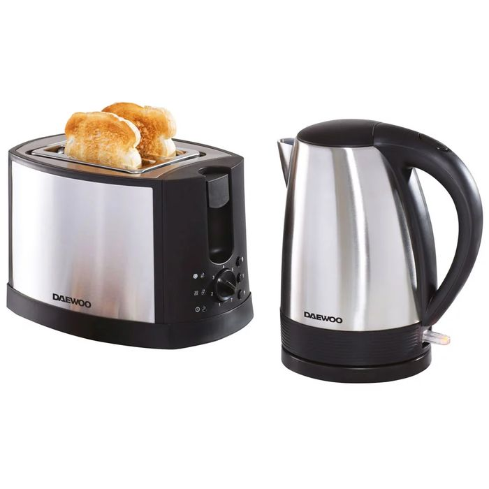 Daewoo Stainless Steel Kettle and Toaster Set Free C&C