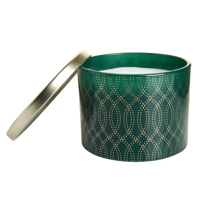 Wilko Large Green and Gold Candle