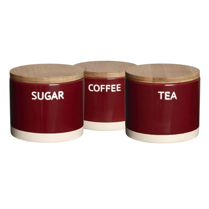 Wilko Set of 3 Red or Blue Canisters