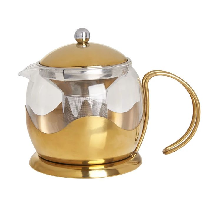 Wilko Gold Effect Teapot and Infuser