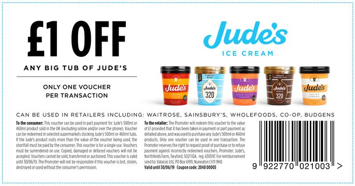 Judes Ice-Cream £1 off with Printable Voucher