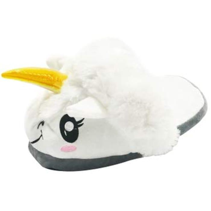 Lightning Deal* White Unicorn Design Soft Plush Cotton Fantasy Slippers