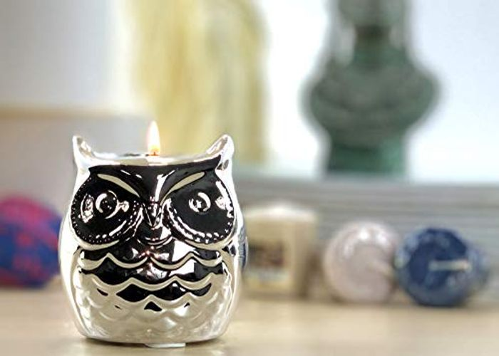 Yankee Candle Owl Holder and 3 Votive Candles