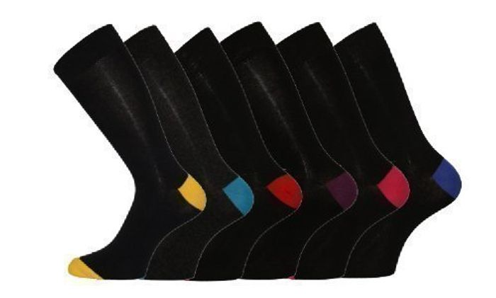 6 Pk Mens Pierre Calvini Cotton Contrast Heel Socks