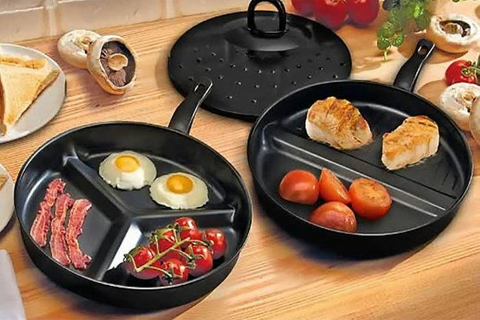3-in-1 Non-Stick Divider Frying Pans