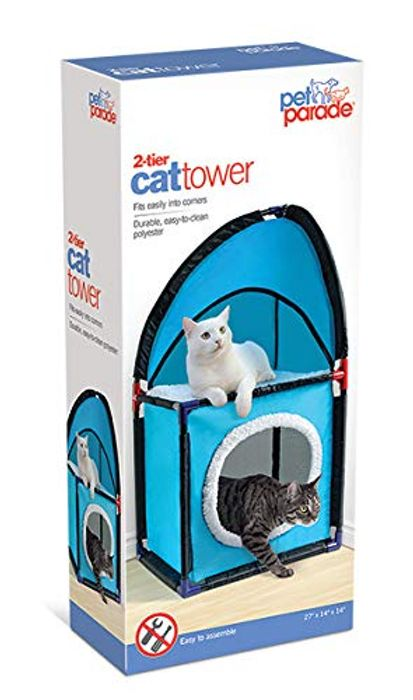 Pet Parade X11 2 Tier Cat Playing Tower Learning & Fun