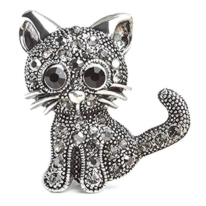 Lalang Crystal Cat Brooch FREE DELIVERY