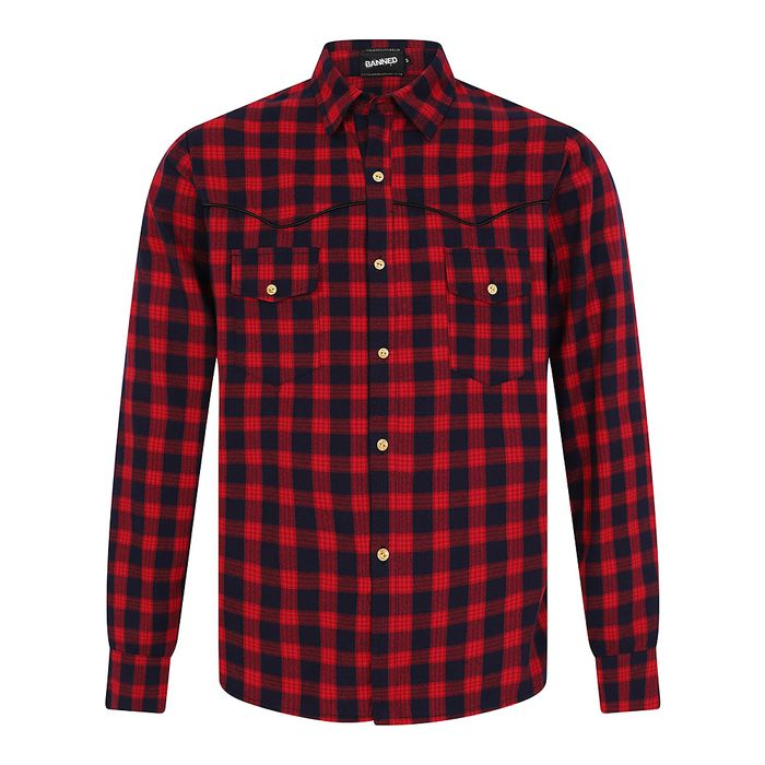 Banned Rockabilly Checkered Shirt (Red/Blue)