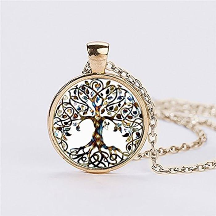 Ladies' Necklace - Tree Glass Gem Pendant Long Chain. Free P&P