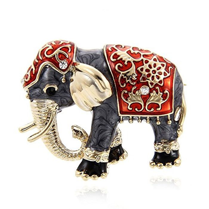 Rhinestone Enamel Brooch Pin - Fashion Jewelery Elephant
