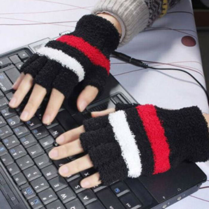 Cheap USB Heating Winter Hand Warm Gloves Fingerless
