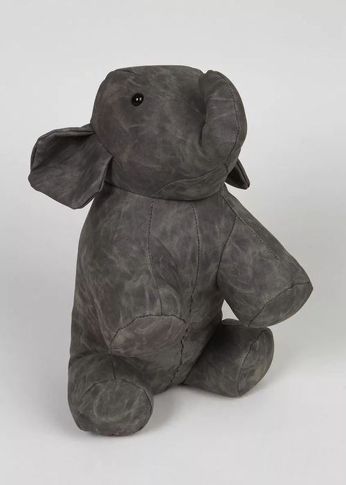 Leather Effect Elephant Doorstop.