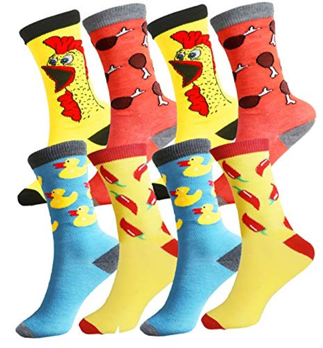 4 Pairs of Mens Colourful Novelty Socks for £3.49