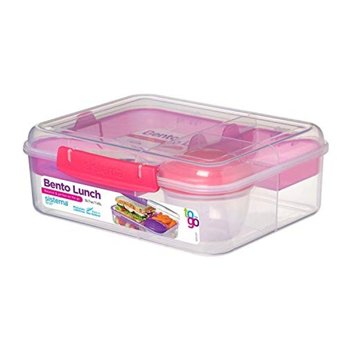 Sistema Bento Lunch Box to Go with Fruit/Yogurt Pot, 1.65 L - Clear/Pink