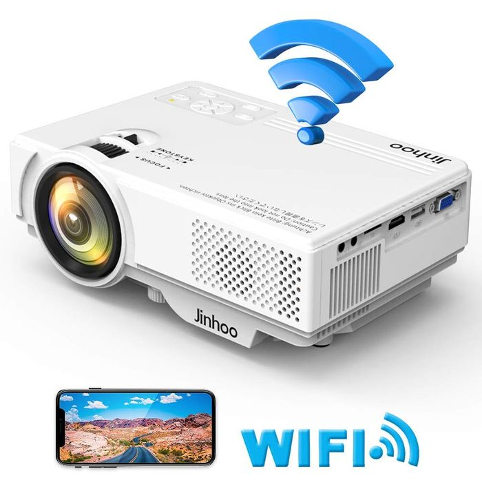 Jinhoo WIFI Projector 2600Lumens Wireless 170 Inch Display Compatible
