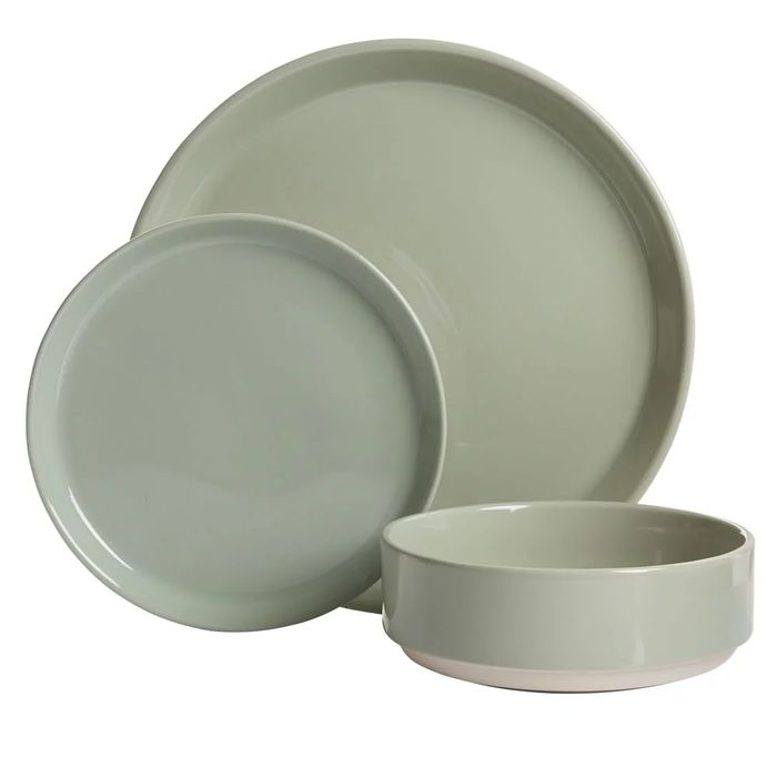 Wilko 12 Piece Green Dipped Dinner Set - Save £9