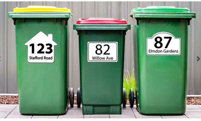 6 X Personalised Wheelie Bin Stickers - 4 Designs!