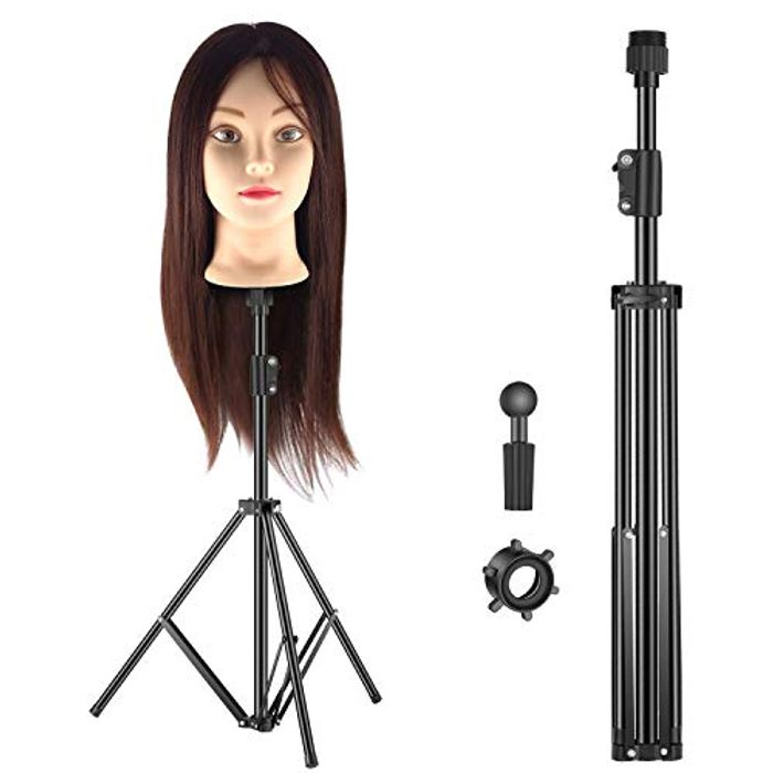 **LIGHTNING DEAL** Hairdressing Training Head and Stand
