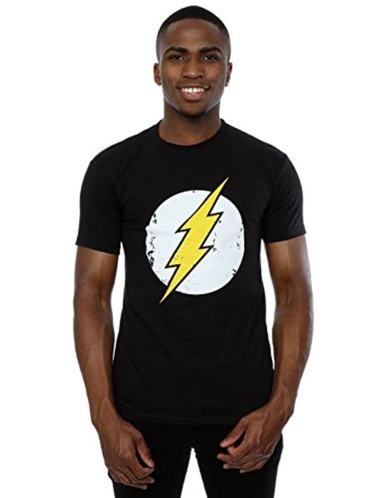 DC Comics Men's Flash Distressed Logo T-Shirt Large Black
