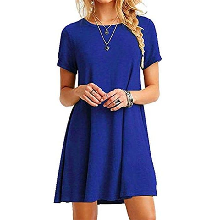Women Casual O-Neck Short Sleeve Solid Mini Dress