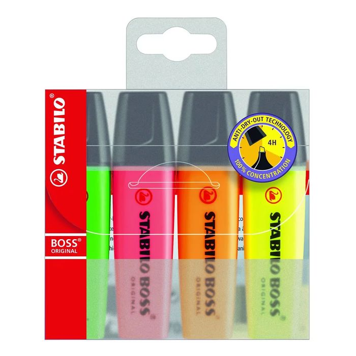 Stabilo Boss Highlighters 4 Pack Free C&C