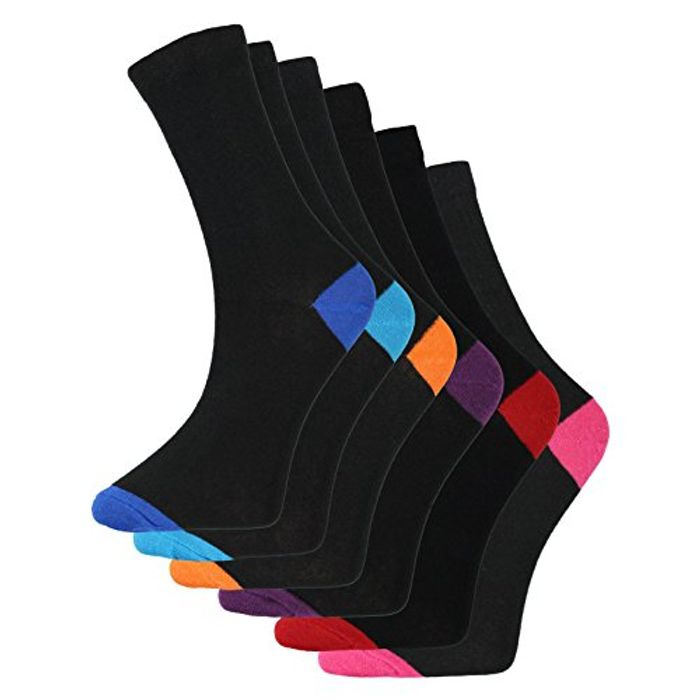 Mens contrast Heel and Toe Socks (6 Pairs Pack) Cotton Rich Only £3.99 Delivered
