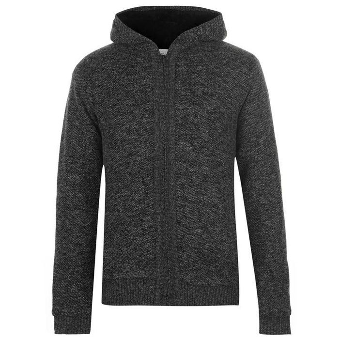 Lee Cooper Hooded Zip Knitted Jacket Mens