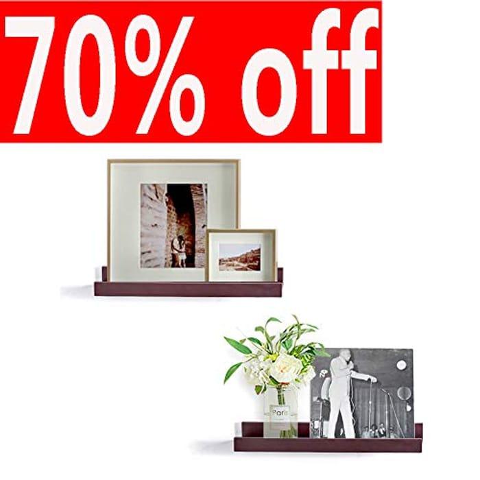 Espresso 2 Set MDF Floating Shelves - save 60%