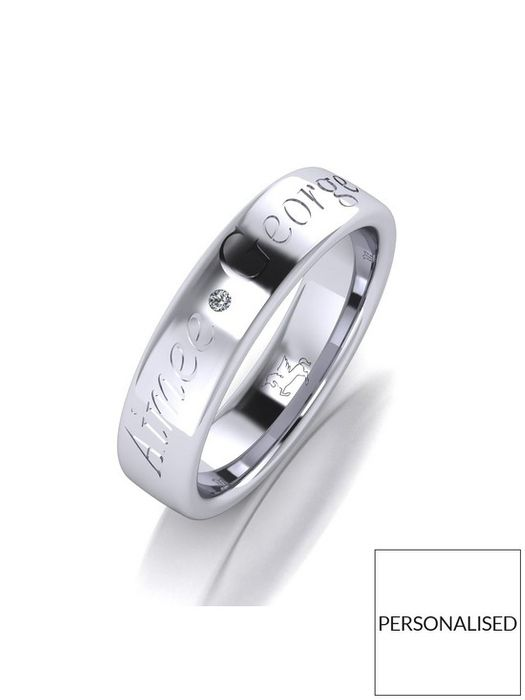 Personalised Argentium Silver Diamond Set 5mm Cushion Court Wedding Band