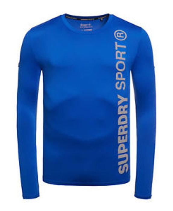 New Mens Superdry Sports Athletic Top Cobalt