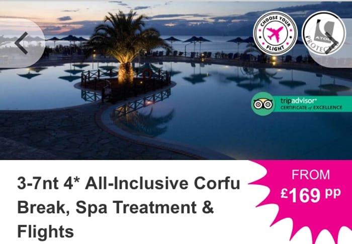 3-7nt 4* All-Inclusive Corfu Break, Spa Treatment & Flights