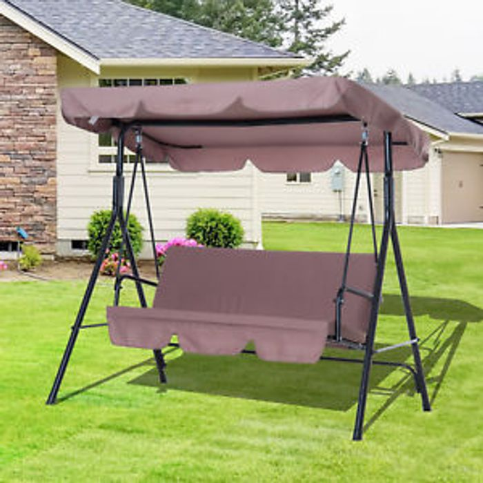 Outsunny Garden Metal Swing Chair 3 Seater Hammock Patio Canopy Bench Lounger