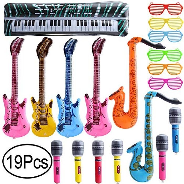 19PCS Inflatable Party Props Rock Star Set