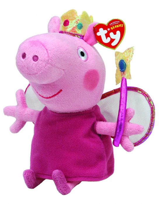 Peppa Pig Princess Peppa Beanie Baby Plush Toy (Approximately 7 Inch Tall)