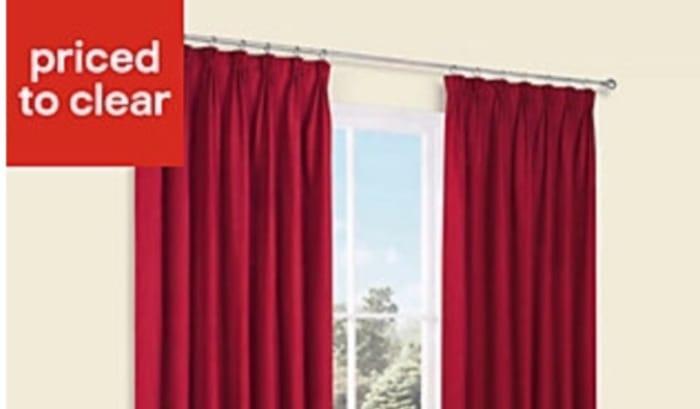 Prestige Flame Plain Pencil Pleat Lined Curtains