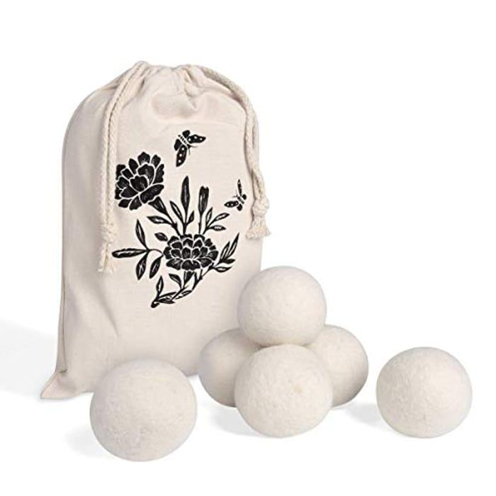 Wool Dryer Balls XL 6 Pack, Reusable Natural Fabric Softener,