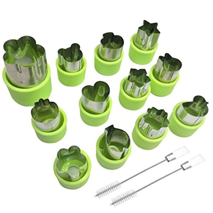 12 Pcs Fruit Cookie Vegetable Cutter Shape Set for Kids Salad