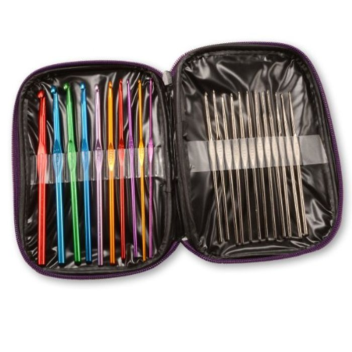 Crochet Hooks, Aluminium, Multi-Colour, 22-Piece