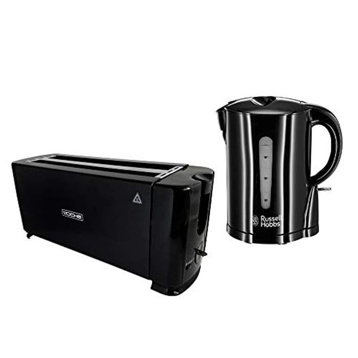 Russell Hobbs,1.7L,Gloss Black Cordless Kettle + Voche 4 Slice 1300W Toaster Set