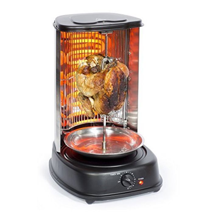 Electric Rotating Vertical Rotisserie Grill 2000W Black BBQ
