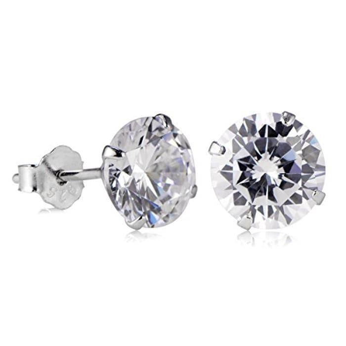 SurePromise Woman Girl 925 Sterling Silver CZ Crystal Stud Earrings/Studs/Pins
