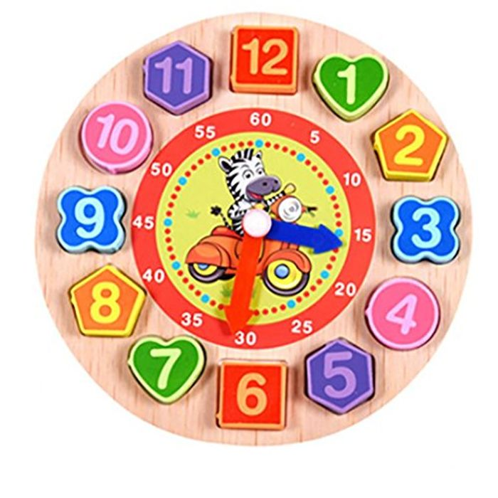 Wooden Clock Puzzle (Tiger, Zebra, Lion or Rabbit; Free Delivery)