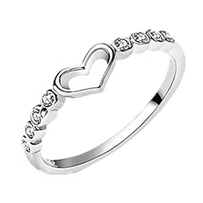 Elegant Ring Rhinestone Heart Shape Ring Jewellery Birthday Gifts Silver