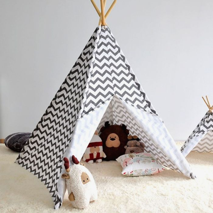 4baby Large Kids Teepee / Baby Play Tent - Chevron Grey