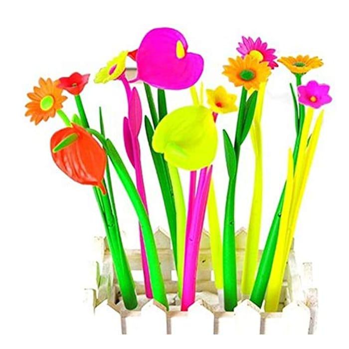 Bright Colourful Flower Design Pens (12 Pieces)