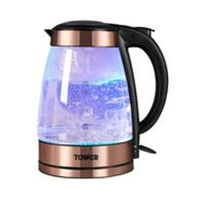Tower Illuminating Glass Kettle Black Rose Gold