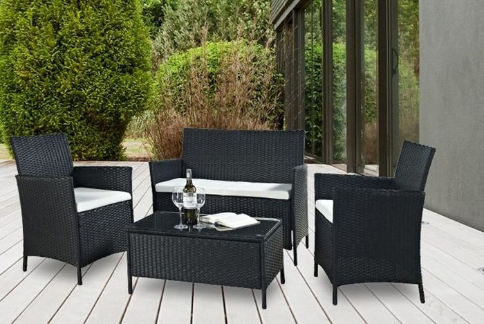 4pc Rattan Outdoor Furniture Set - 2 Colours!