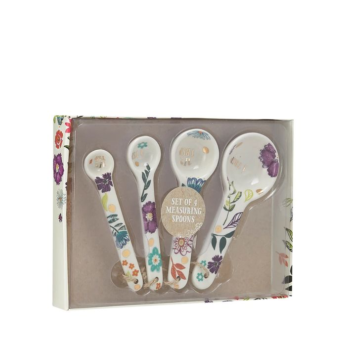Debenhams - 4 Pack White Floral Print Measuring Spoons