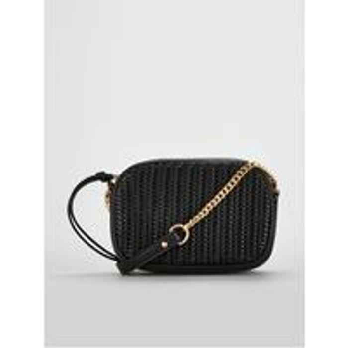 Panda Weave Panel Crossbody Bag